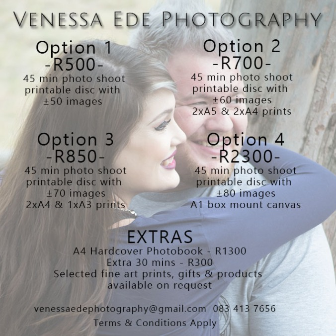 Photo Shoot Pricing 2017 Couples