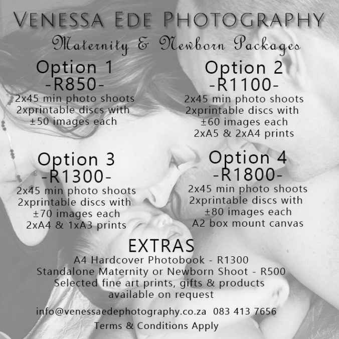 Photo Shoot Pricing 2017 Maternity and Newborn